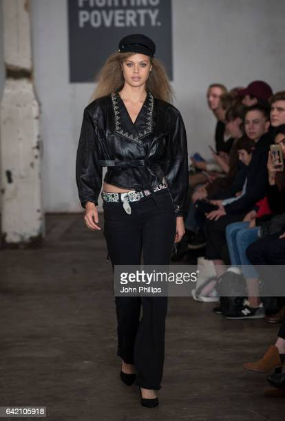 Model Jessica Clarke aka Jess Clarke walks the catwalk for Fashion Fighting Poverty hosted by Oxfam on February 16 2017 in London United Kingdom