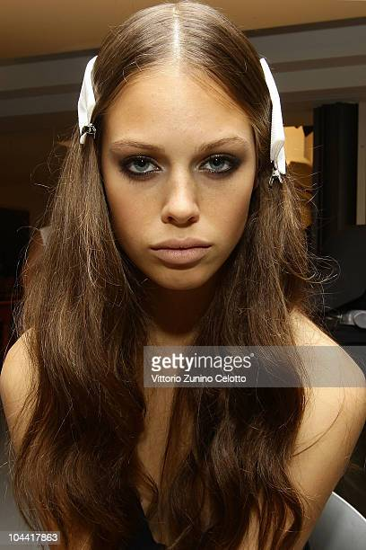 Model Jessica Clarke poses backstage ahead of the Gianfranco Ferre Spring/Summer 2011 fashion show during Milan Fashion Week Womenswear on September...