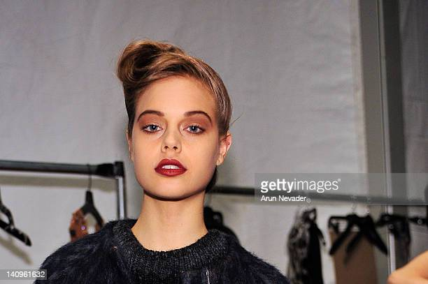 Model Jessica Clarke seen backstage at the Lela Rose fashion show during Fall 2012 Fashion Week on February 12 2012 at The Studio in Lincoln Center...