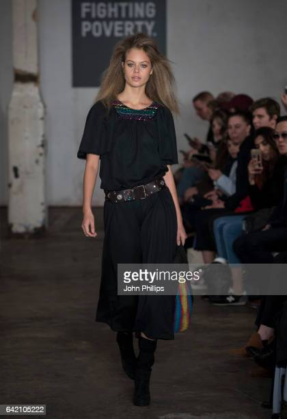 Model Jessica Clarke walks the catwalk for Fashion Fighting Poverty hosted by Oxfam on February 16 2017 in London United Kingdom
