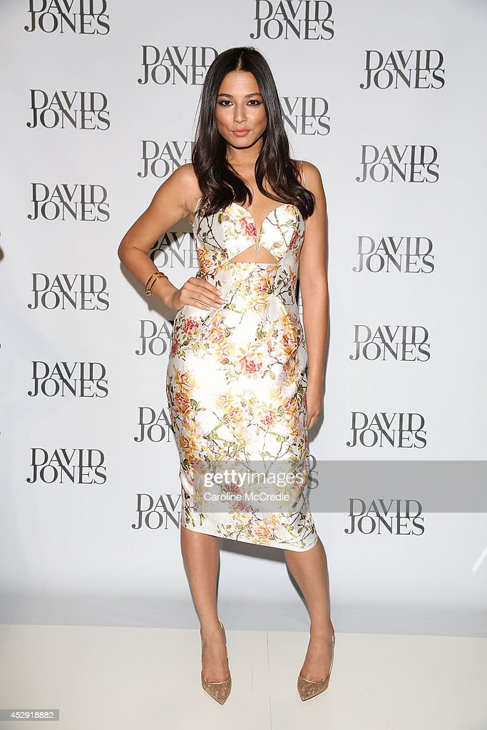 Model Jessica Gomes arrives at the David Jones Spring/Summer 2014 Collection Launch at David Jones Elizabeth Street Store on July 30, 2014 in Sydney, Australia.
