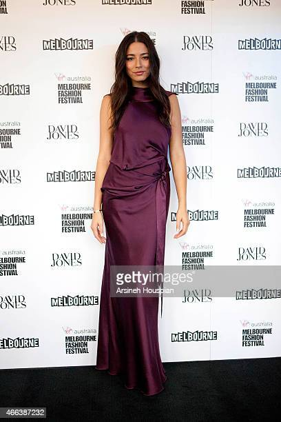 Model Jessica Gomes at the opening of the 2015 Melbourne Fashion Festival on March 14 2015 in Melbourne Australia