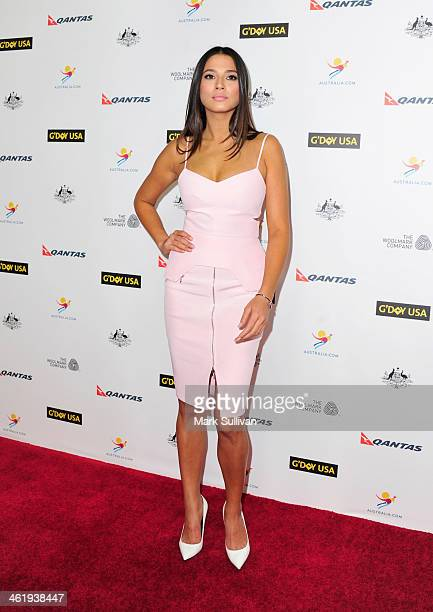 Model Jessica Gomes attends the 2014 G'Day USA Los Angeles Black Tie Gala at JW Marriott Los Angeles at LA LIVE on January 11 2014 in Los Angeles...
