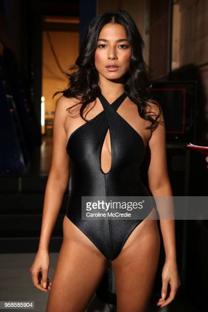 Model Jessica Gomes poses backstage ahead of the Jets show at MercedesBenz Fashion Week Resort 19 Collections at Carriageworks on May 15 2018 in...