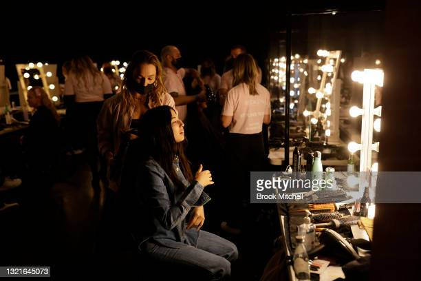 Model Jessica Gomes prepares backstage ahead of the Afterpay's Future of Fashion show during Afterpay Australian Fashion Week 2021 Resort '22...