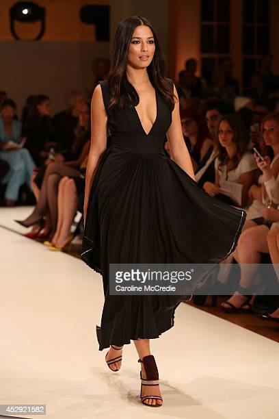 Model Jessica Gomes showcases designs by Ellery at the David Jones Spring/Summer 2014 Collection Launch at David Jones Elizabeth Street Store on July...