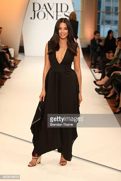 Model Jessica Gomes showcases designs by Ellery during a rehearsal ahead of the David Jones Spring/Summer 2014 Collection Launch at David Jones...