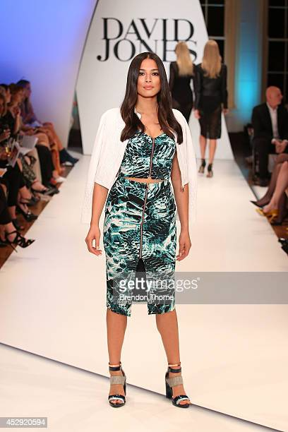 Model Jessica Gomes showcases designs by Ginger Smart at the David Jones Spring/Summer 2014 Collection Launch at David Jones Elizabeth Street Store...