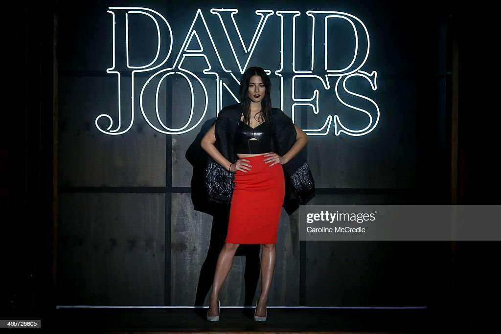 Model, Jessica Gomes, showcases designs by Ginger & Smart at the David Jones A/W 2014 Collection Launch at the David Jones Elizabeth Street Store on January 29, 2014 in Sydney, Australia.