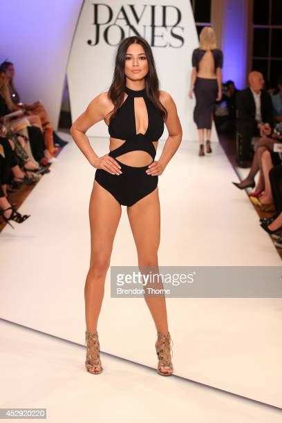 Model Jessica Gomes showcases designs by Jets at the David Jones Spring/Summer 2014 Collection Launch at David Jones Elizabeth Street Store on July...