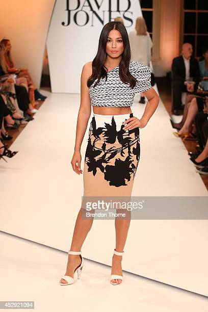 Model Jessica Gomes showcases designs by Scanlan Theodore at the David Jones Spring/Summer 2014 Collection Launch at David Jones Elizabeth Street...
