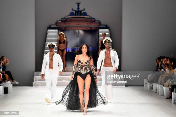 Model Jessica Gomes walks the runway during the Jets show at Mercedes-Benz Fashion Week Resort 19 Collections at Carriageworks on May 15, 2018 in...