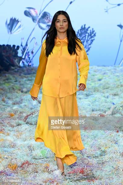 Model Jessica Gomes walks the runway in a design by Anna Quan during the Afterpay's Future of Fashion show during Afterpay Australian Fashion Week...