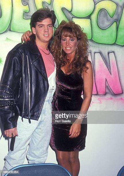 Model Jessica Hahn and halfbrother Danny Moylan attend the Long Island Custom Car Show on March 10 1991 at the Nassau Veterans Memorial Coliseum in...