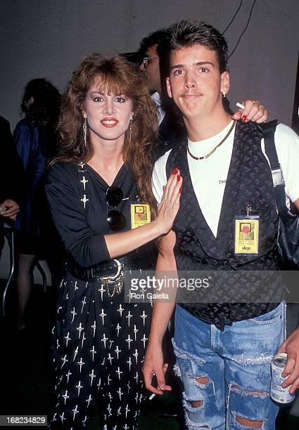 Model Jessica Hahn and halfbrother Danny Moylan attend the Sixth Annual MTV Video Music Awards on September 6 1989 at the Universal Amphitheatre in...
