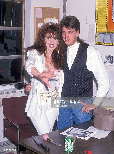 Model Jessica Hahn and halfbrother Danny Moylan attend the Slam Jam Rock Wrestling on August 1 1990 at the Spit Club in Levittown Long Island New York
