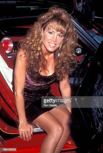 Model Jessica Hahn attends the Long Island Custom Car Show on March 10 1991 at the Nassau Veterans Memorial Coliseum in Uniondale Long Island New York
