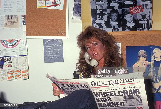 Model Jessica Hahn visits The Howard Stern Show on March 8 1991 at WXRK KRock Radio Station in New York City