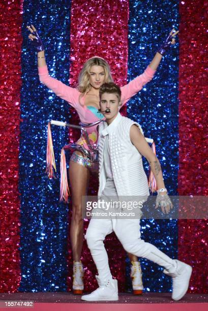 Model Jessica Hart and singer Justin Bieber onstage during the 2012 Victoria's Secret Fashion Show at the Lexington Avenue Armory on November 7 2012...