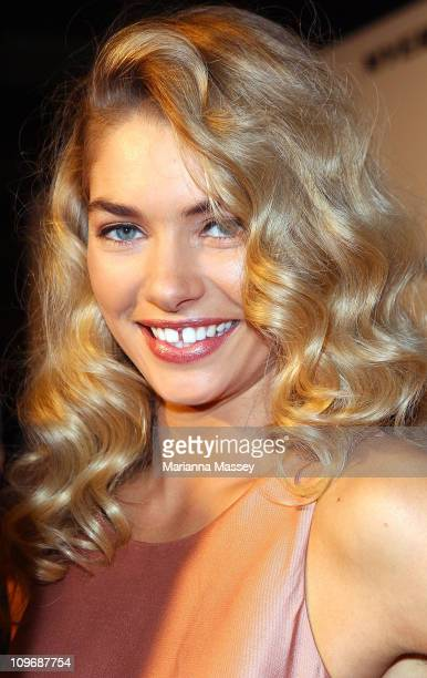 Model Jessica Hart arrives at the Myer Autumn/Winter Season Launch 2011 at The Royal Exhibition Building on March 1 2011 in Melbourne Australia