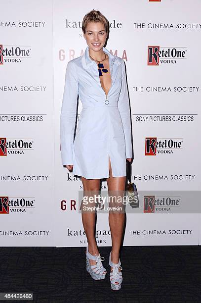 Model Jessica Hart attends a screening of Sony Pictures Classics' Grandma hosted by The Cinema Society and Kate Spade at Landmark Sunshine Cinema on...