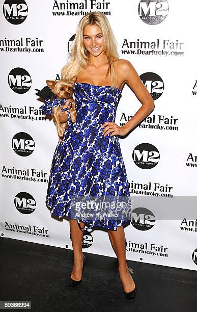 "Model Jessica Hart attends the Animal Fair's 10th Annual ""Paws For Style"" at M2 Ultra Lounge on July 27, 2009 in New York City."