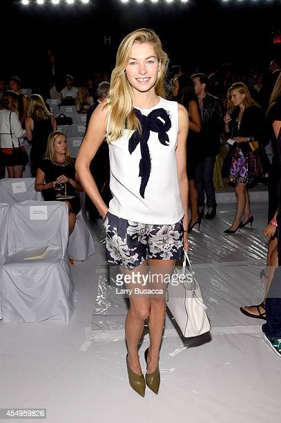 Model Jessica Hart attends the Carolina Herrera fashion show during MercedesBenz Fashion Week Spring 2015 at The Theatre at Lincoln Center on...