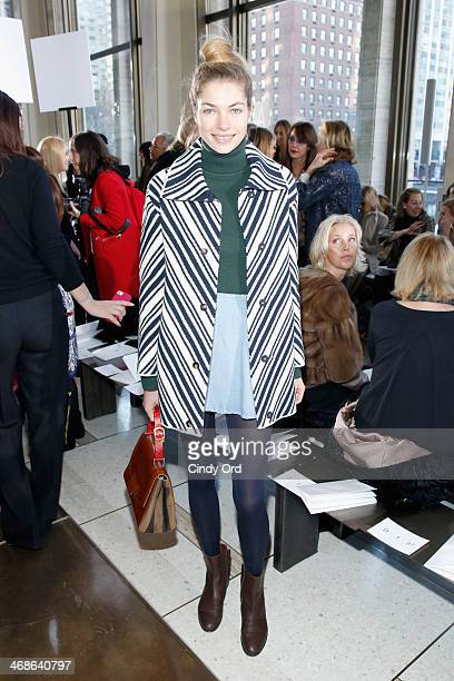 Model Jessica Hart attends the Tory Burch fashion show during MercedesBenz Fashion Week Fall 2014 at Avery Fisher Hall at Lincoln Center for the...