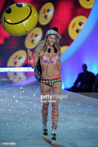 Model Jessica Hart walks the runway at the 2013 Victoria's Secret Fashion Show at Lexington Avenue Armory on November 13 2013 in New York City