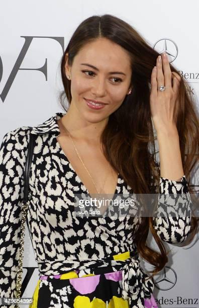 Model Jessica Michibata attends the DIANE von FURSTENBERG show as part of Mercedes Benz Fashion Week TOKYO 2014 A/W at Shibuya Hikarie on March 20...