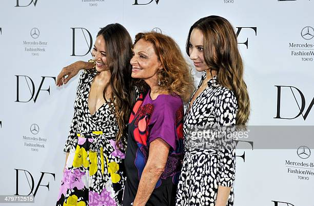 Model Jessica Michibata designer Diane Von Furstenburg and model Angelica Michibata attend the DIANE von FURSTENBERG show as part of Mercedes Benz...