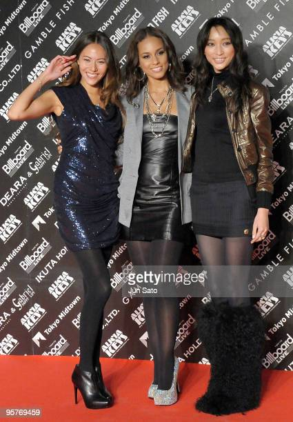 "Model Jessica Michibata, singer Alicia Keys and actress Anne Watanabe attend the photocall during Alicia Keys's latest album promotion ""The Element..."