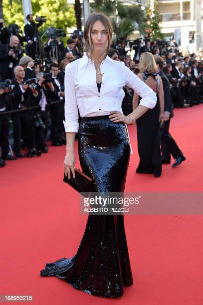 US model Jessica Miller poses on May 17 2013 as she arrives for the screening of the film 'The Past' presented in Competition at the 66th edition of...