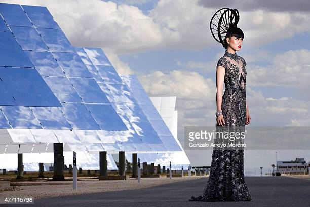 Model Jessica Minh Anh attends a fashion photoshoot and video recording at Gemasolar Thermosolar Plant ahead of her fashion show at the venue next...