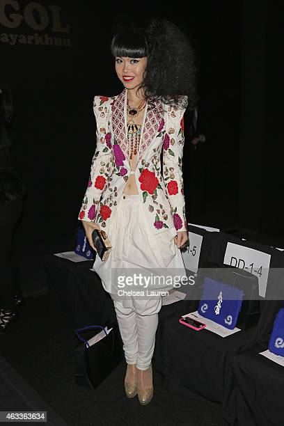 Model Jessica Minh Anh attends the Mongol fashion show during Mercedes-Benz Fashion Week Fall 2015 at The Theatre at Lincoln Center on February 13,...