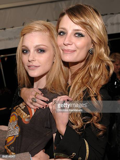 Model Jessica Stam and actress Mischa Barton attend the Miss Sixty Fall 2009 fashion show during MercedesBenz Fashion Week in the Tent at Bryant Park...