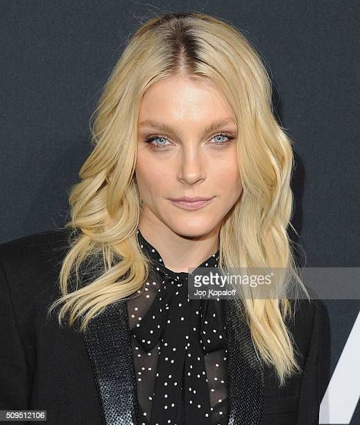 Model Jessica Stam arrives at SAINT LAURENT At The Palladium at Hollywood Palladium on February 10 2016 in Los Angeles California