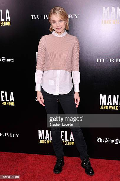 Model Jessica Stam attends a screening of 'Mandela Long Walk to Freedom' hosted by U2 Anna Wintour and Bob Harvey Weinstein with Burberry at the...