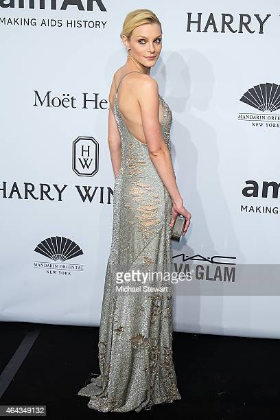 Model Jessica Stam attends the 2015 amfAR New York Gala at Cipriani Wall Street on February 11, 2015 in New York City.