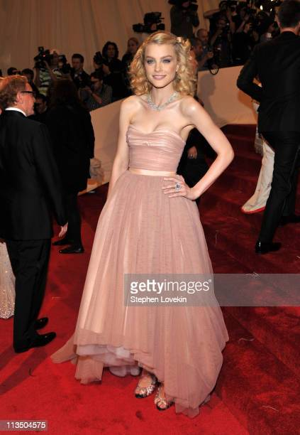 Model Jessica Stam attends the 'Alexander McQueen Savage Beauty' Costume Institute Gala at The Metropolitan Museum of Art on May 2 2011 in New York...