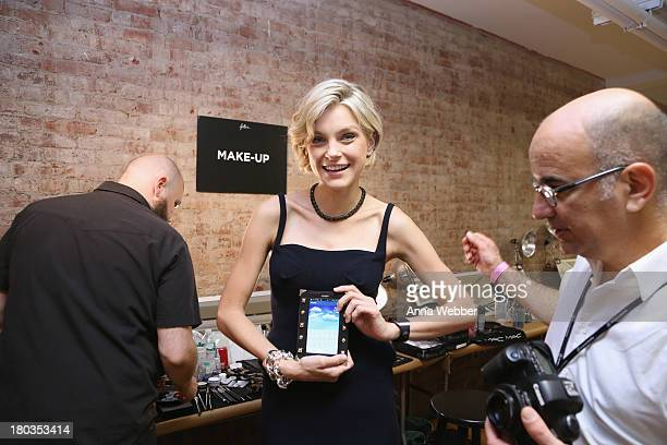 Model Jessica Stam attends the Fallon Spring 2014 Show with Galaxy Gear during MercedesBenz Fashion Week Spring 2014 at 82 Mercer on September 11...