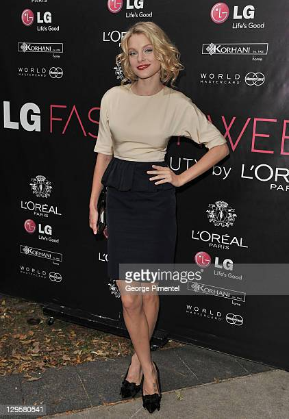 Model Jessica Stam attends the Mercedes Benz Startup Event spring 2012 collection during LG Toronto Fashion Week at David Pecaut Square on October...