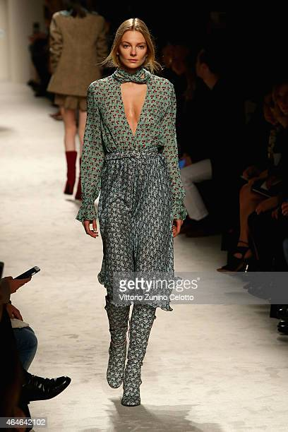 Model Jessica Stam walks the runway at the Philosophy Di Lorenzo Serafini show during the Milan Fashion Week Autumn/Winter 2015 on February 27 2015...