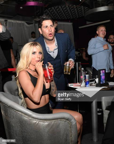 "Model Jessica Weaver and producer Dave Bryant react during ""Foxy Boxing"" as she hosts Larry Flynt's Hustler Club Instagram party at Larry Flynt's..."