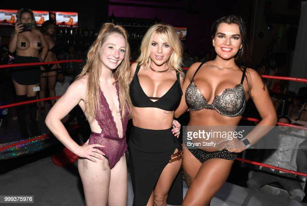 "Model Jessica Weaver appears with contestants of ""Foxy Boxing"" as she hosts Larry Flynt's Hustler Club Instagram party at Larry Flynt's Hustler Club..."
