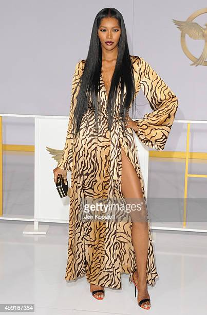 Model Jessica White arrives at the Los Angele Premiere The Hunger Games Mockingjay Part 1 at Nokia Theatre LA Live on November 17 2014 in Los Angeles...