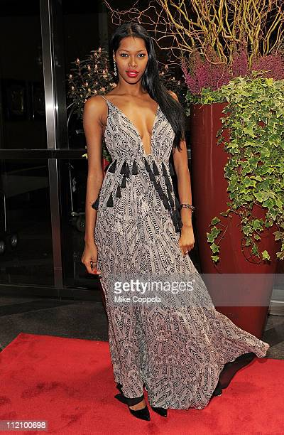 Model Jessica White attends the 8th Annual New Yorkers For Children Spring Dinner Dance A Fool's Fete at Mandarin Oriental Hotel on April 12 2011 in...
