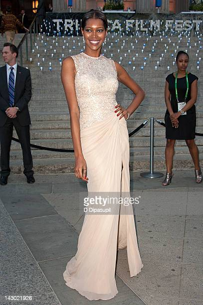 Model Jessica White attends the Vanity Fair party during the 2012 Tribeca Film Festival at the State Supreme Courthouse on April 17 2012 in New York...
