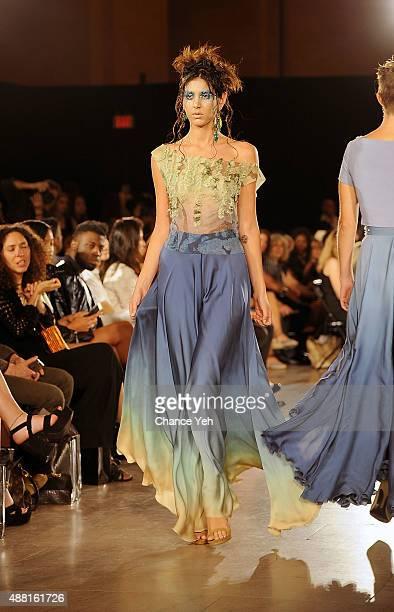Model Jeunesse Awad walks the runway at Hendrik Vermeulen show during Spring 2016 during New York Fashion Week at Vanderbilt Hall at Grand Central...