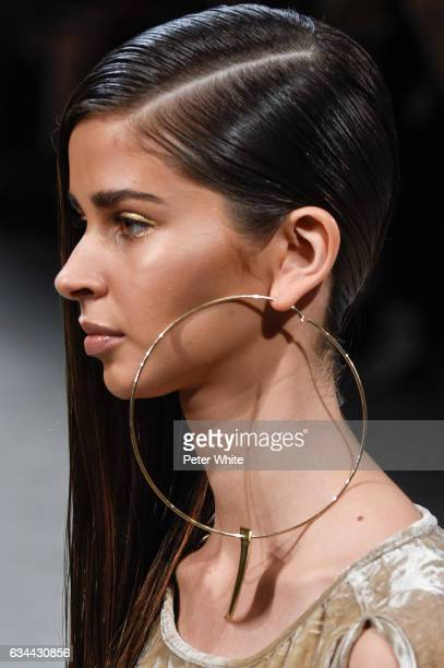 A model jewel detail walks the runway at the Nicholas K show during New York Fashion Week at Gallery 2 Skylight Clarkson Sq on February 9 2017 in New...